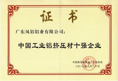 中国工业铝挤压材十强企业